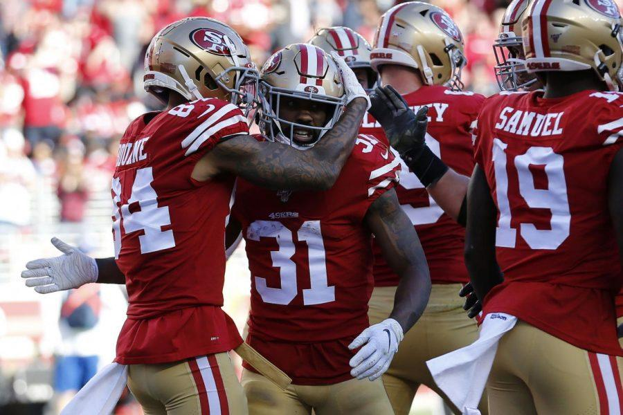 San+Francisco+49ers+running+back+Raheem+Mostert+%2831%29+is+congratulated+by+wide+receiver+Kendrick+Bourne+%2884%29+after+scoring+against+the+Atlanta+Falcons+during+the+first+half+of+an+NFL+football+game+in+Santa+Clara%2C+Calif.%2C+Sunday%2C+Dec.+15%2C+2019.