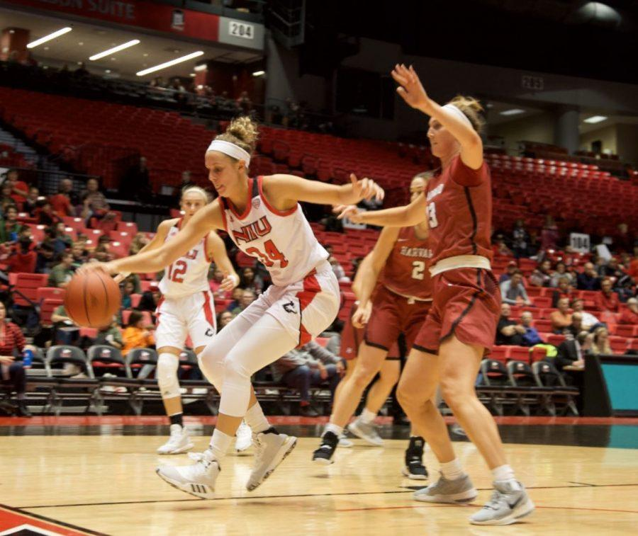 Redshirt senior forward Ally May finds space for a layup Nov. 5 during NIU's home loss to Harvard University at the Convocation Center.
