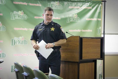 In this March 22 file photo, John Petragallo, then DeKalb Police Department deputy chief, exits the podium after a Committee of the Whole meeting.