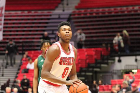 Junior Chris Johnson prepares to take a free throw Jan. 28 during NIU's 61-59 win over Ohio University at the Convocation Center.