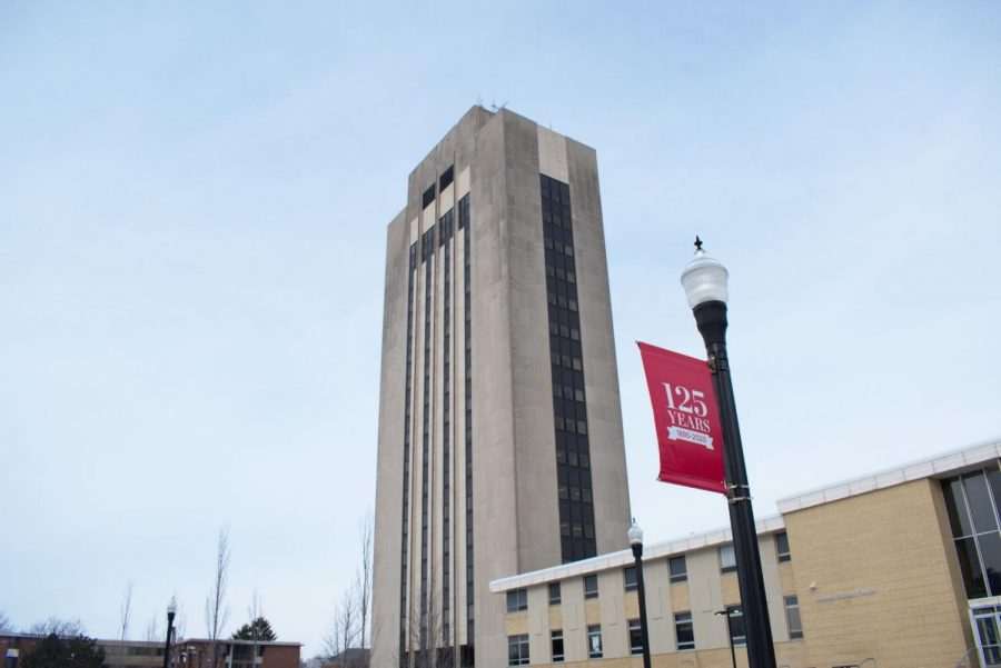 In this Jan. 19 photo, a 125-year anniversary flag flies in front of the Holmes Student Center.