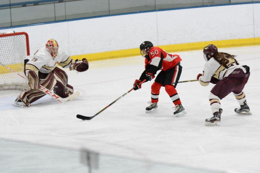 Sophomore forward Tyler Gut tries scoring on Robert Morris University during a Feb. 14 game at Edge Ice Arena in Bensenville, Illinois.