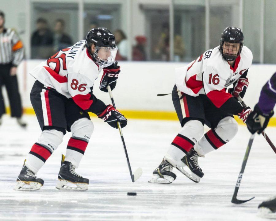 First-year forward Austin Walny (left) and senior forward Brad Krauser run a puck down the ice Nov. 8 against McKendree University.