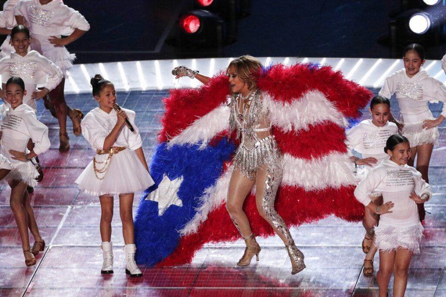 Jennifer Lopez and daughter Emme Maribel Muniz perform Sunday during halftime of the NFL Super Bowl 54 football game.