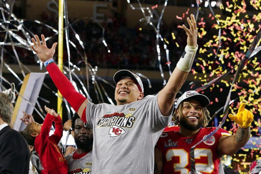 Kansas City Chiefs' Patrick Mahomes, left, and Tyrann Mathieu celebrate after defeating the San Francisco 49ers in the NFL Super Bowl 54 football game Sunday, Feb. 2, 2020, in Miami Gardens, Fla.