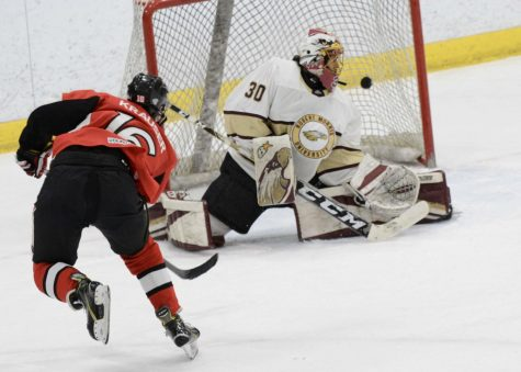 Senior forward Brad Krauser finds the back of the net during NIU
