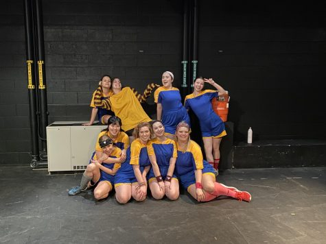 "Hunter Siegel (top, from left), Chloe Janisch, Beth Kahan, Elaine Giddens, Rachael Yoder (bottom), Kaitlyn Cheng, Caroline Byrne, Andrea Shapiro and Savannah-Lee Mumford, the cast of ""The Wolves,"" pose backstage."