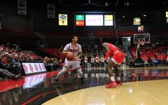 Sophomore guard Trendon Hankerson surveys the floor Feb. 1 during NIU's 70-55 win over Miami University–Ohio at the Convocation Center.