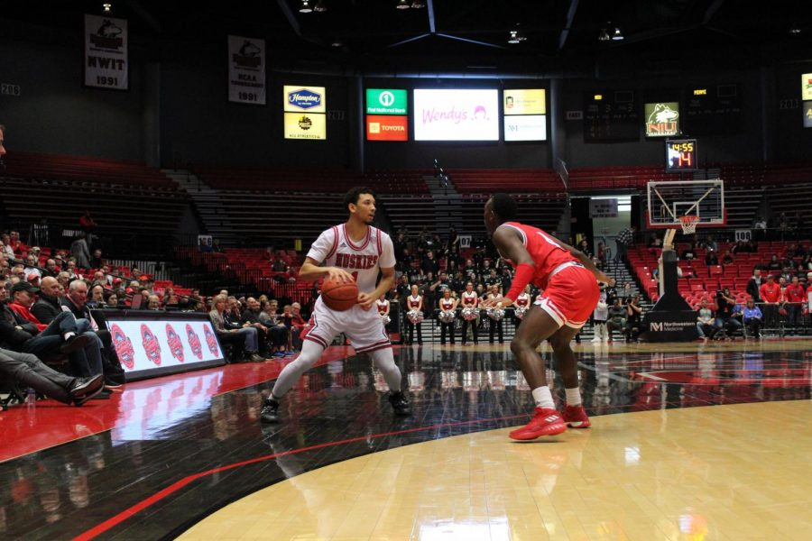 Sophomore guard Trendon Hankerson surveys the floor Feb. 1 during NIU