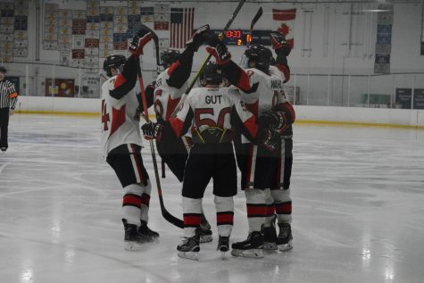 NIU celebrates a goal against Waldorf University on Feb. 2 at Canlan Ice Sports in West Dundee. The Huskies would go on to win 5-4 in overtime.