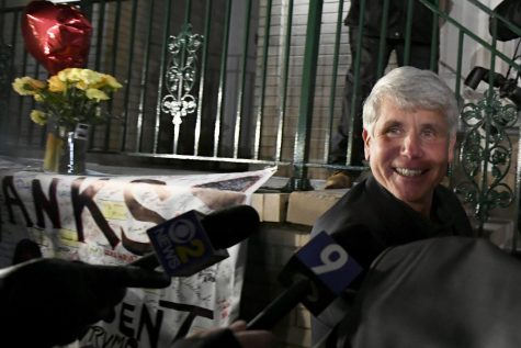 Former Illinois governor Rod Blagojevich smiles Feb. 19 outside of his Chicago home after his 14-year prison sentence was commuted by President Trump.