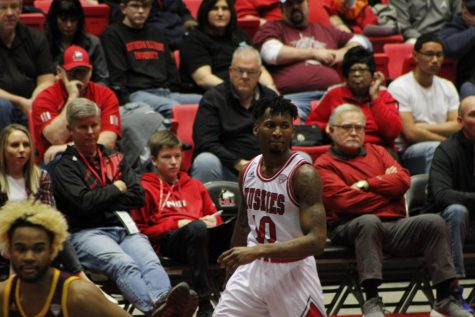 Senior guard Eugene German plays off the ball Feb. 22 during NIU