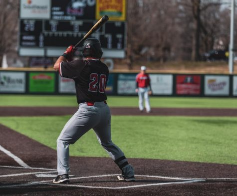 Senior infielder Tommy Szczasny prepares for a pitch during NIU