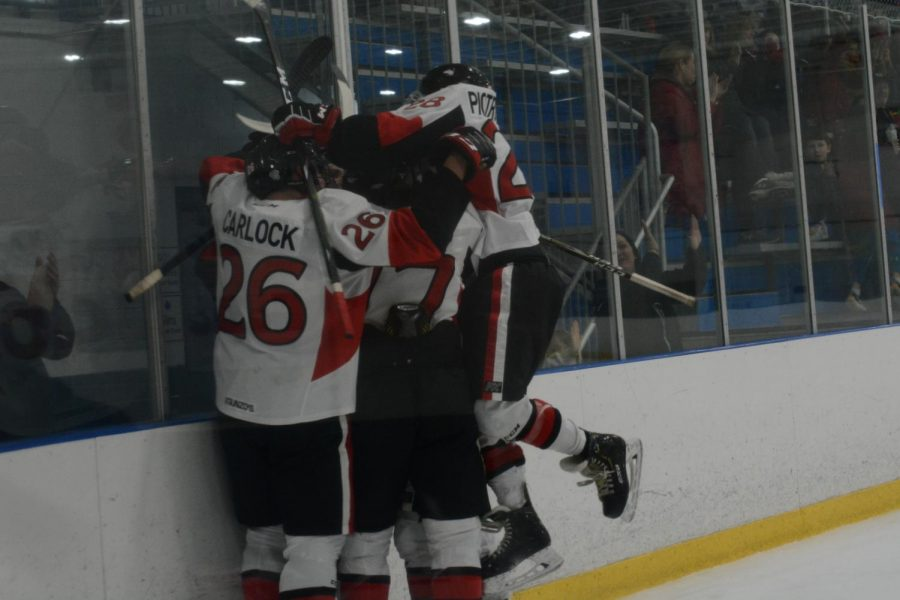 A group of Huskie players celebrate a goal Jan. 10 during NIU's 4-2 loss against Kent State University at Canlan Ice Sports in West Dundee.
