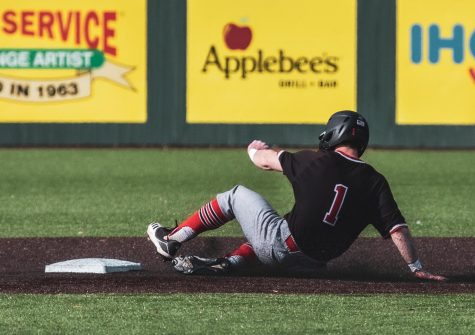 Senior outfielder Brendan Joyce slides into second base during NIU