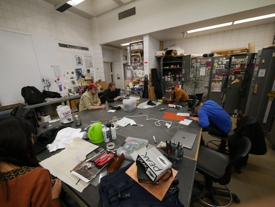 Students work on class projects March 4 in the Jack Arends Building.