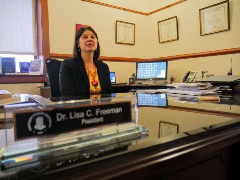 NIU President Lisa Freeman sits in her office at Altgeld Hall.