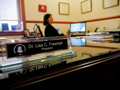 President Lisa Freeman works March 2 in her office in Altgeld Hall.