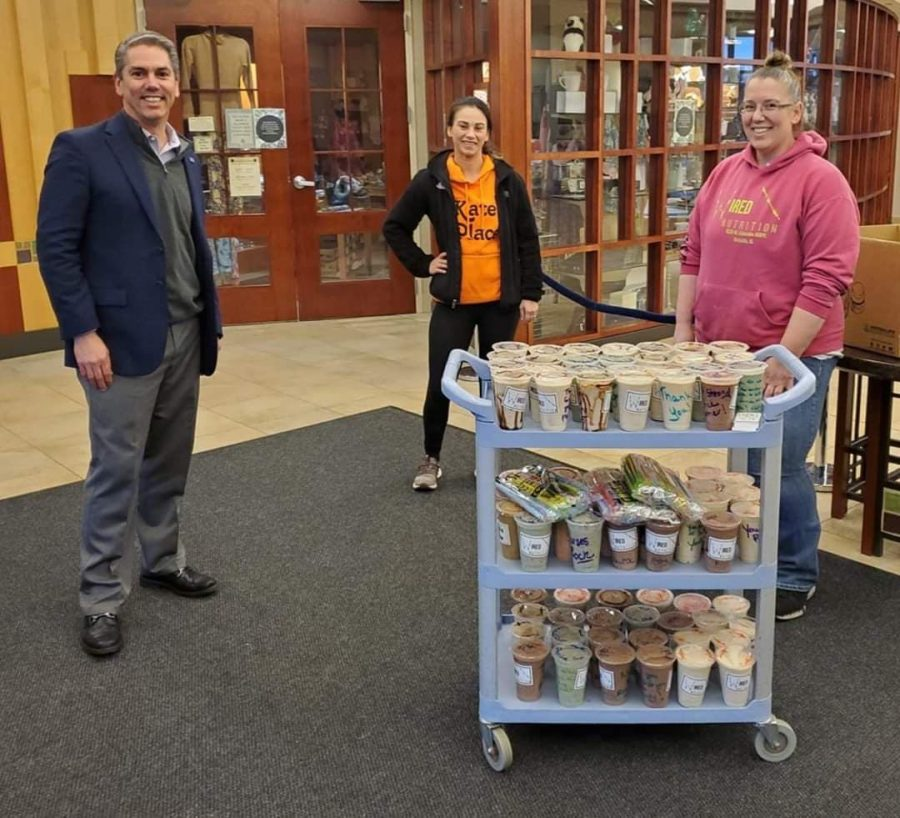 Kishwaukee Hospital President Jay Anderson (from left), Kates Place owner Kate Huftalin and Wired Nutrition owner Kimberly Zepeda during one of the deliveries of shakes to Kishwaukee Hospital.