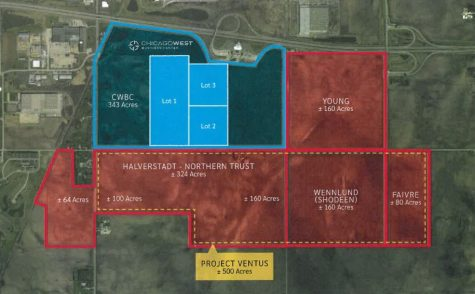 A map shows the area Ventus Tech Services, LLC. is hoping to have annexed for its company.