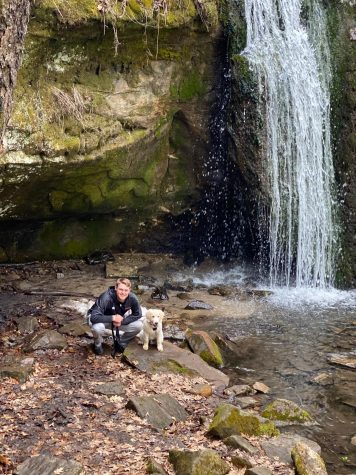 Senior first baseman Jordan Larson and Mac, named after the Mid-American Conference, at Governor Dodge State Park in Iowa County, Wisconsin.