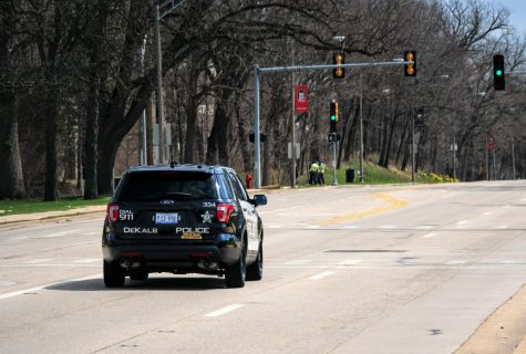DeKalb police officer drives down Lincoln Highway.