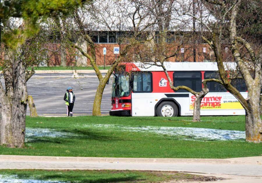 NIU+Bus+driver+looks+around+an+empty+campus+before+continuing+their+route.
