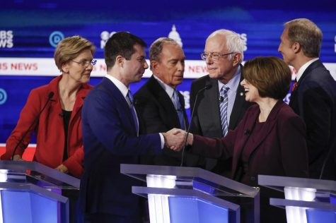 Democratic presidential candidates (left to right) Elizabeth Warren, Pete Buttigieg, Mike Bloomberg, Bernie Sanders, Amy Klobuchar and Tom Steyer meet Feb. 25 before a televised Democratic presidential primary debate hosted by CBS News at the Gaillard Center, Charleston, S.C.
