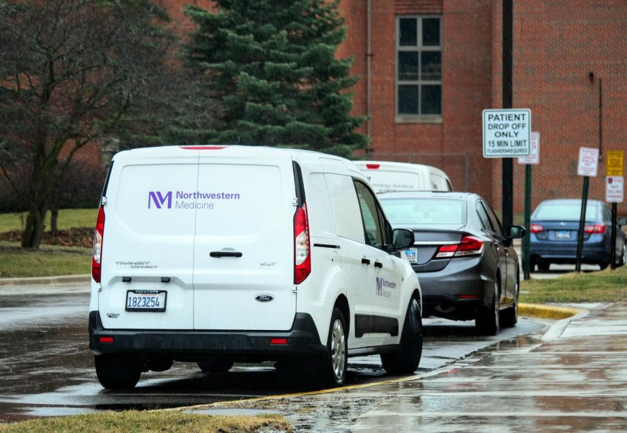 A Northwestern Medicine van parked outside NIU Health Services March 18.