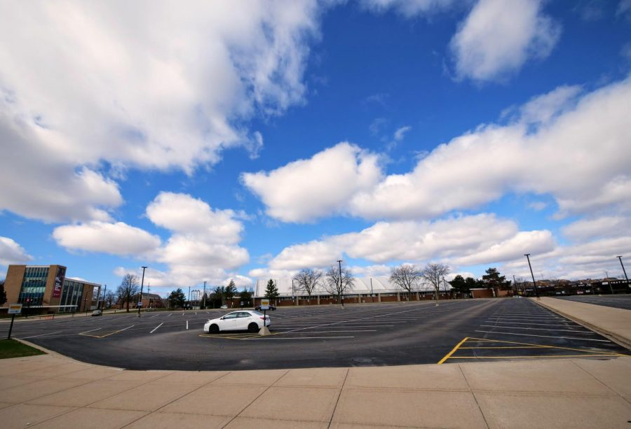 Staff & Commuter student Lot C Monday by DuSable Hall remains practically empty.