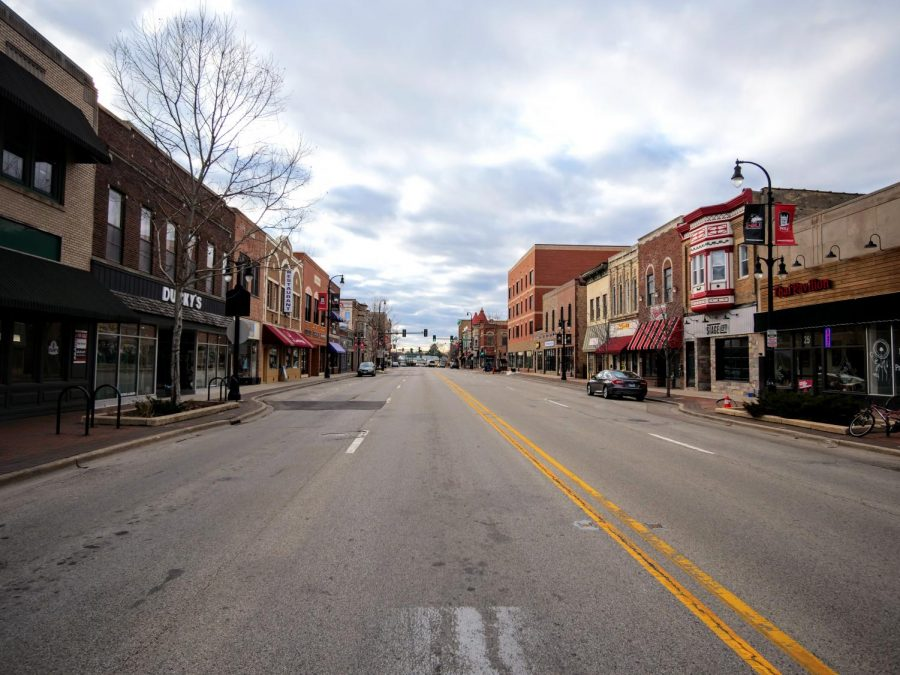 Lincoln Highway in downtown DeKalb is inactive Monday during rush hour.