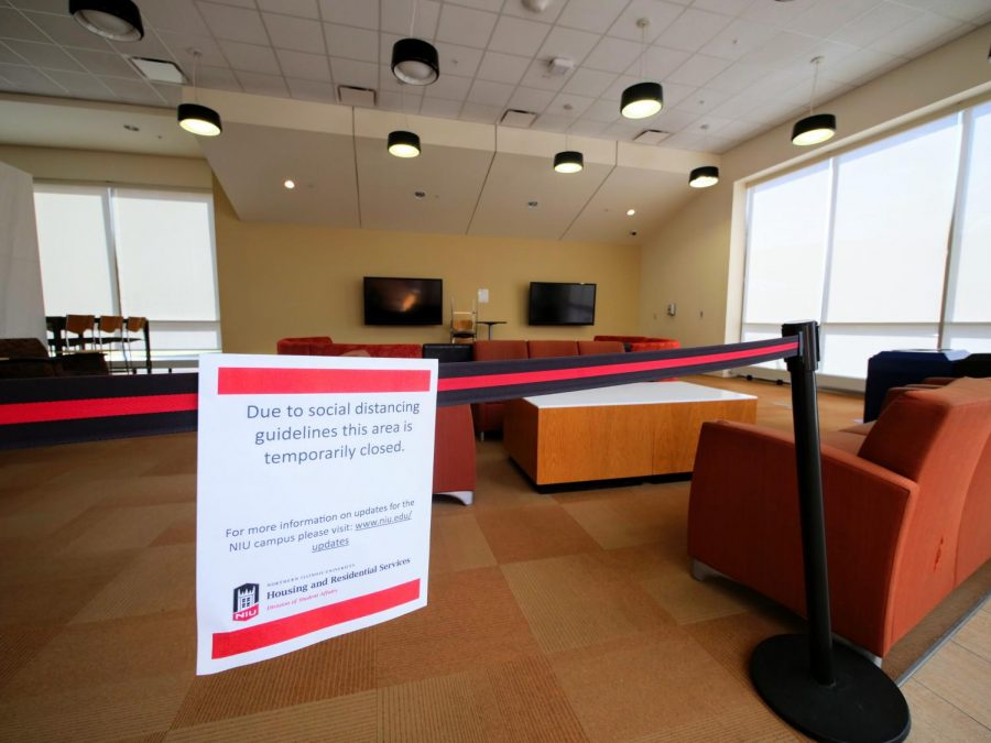 The lounge area in New Residence Hall Community Center Monday is blocked off due to social distancing guidelines.