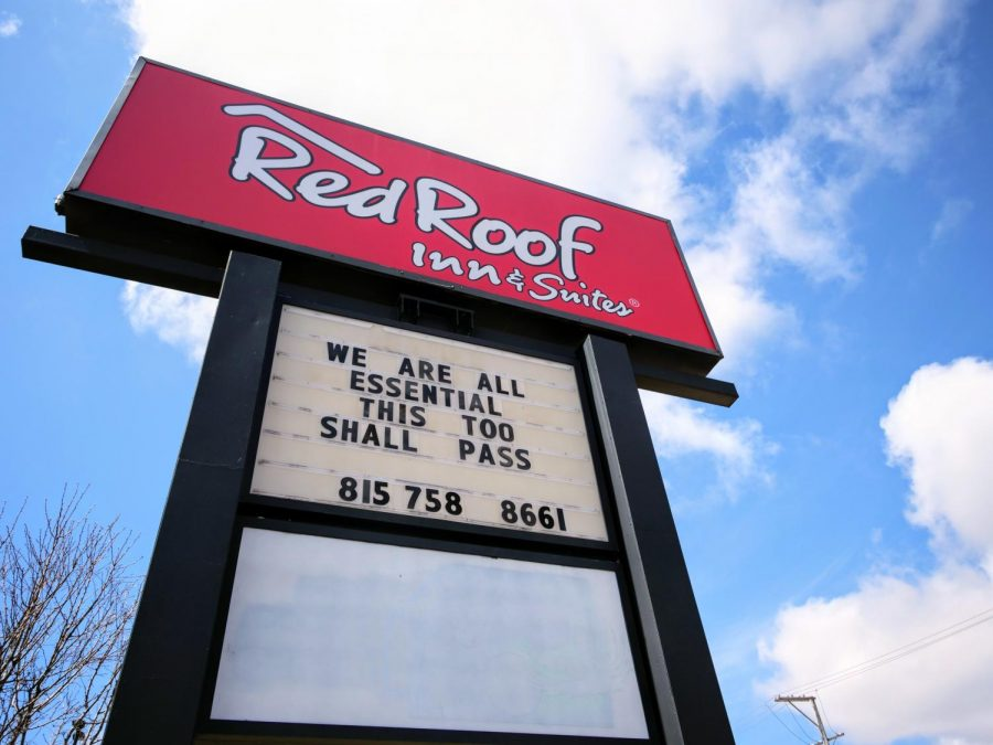 Red Roof Inn & Suites, 1212 W Lincoln Highway, displays an encouraging message Monday from their street sign during the COVID-19 pandemic.