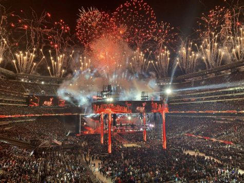 The stage for last year's Wrestlemania at MetLife Stadium in East Rutherford, New Jersey. This year's Wrestlemania, originally scheduled to be in Tampa, will instead be at the WWE Performance Center in front of zero fans.