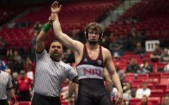 Then-redshirt sophomore Brit Wilson being announced the winner March 7 after his 8-5 decision win in the 2020 MAC Championship semifinals at the Convocation Center.