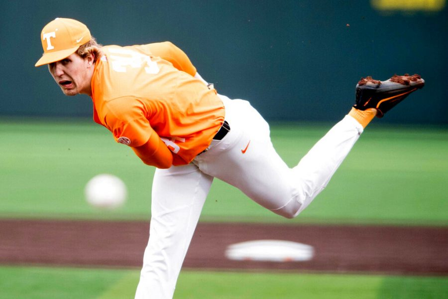 Tennessee's Garrett Crochet pitches in a baseball game in Knoxville, Tenn. Crochet was selected by the Chicago White Sox in the baseball draft Wednesday, June 10, 2020. (Calvin Mattheis/Knoxville News Sentinel via AP)