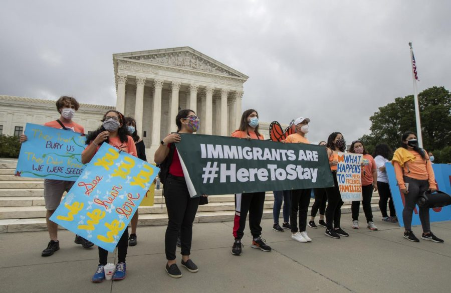 Deferred+Action+for+Childhood+Arrivals+students+stand+Thursday+in+front+of+the+Supreme+Court+after+the+Supreme+Court+ruled+to+block+actions+to+end+DACA.