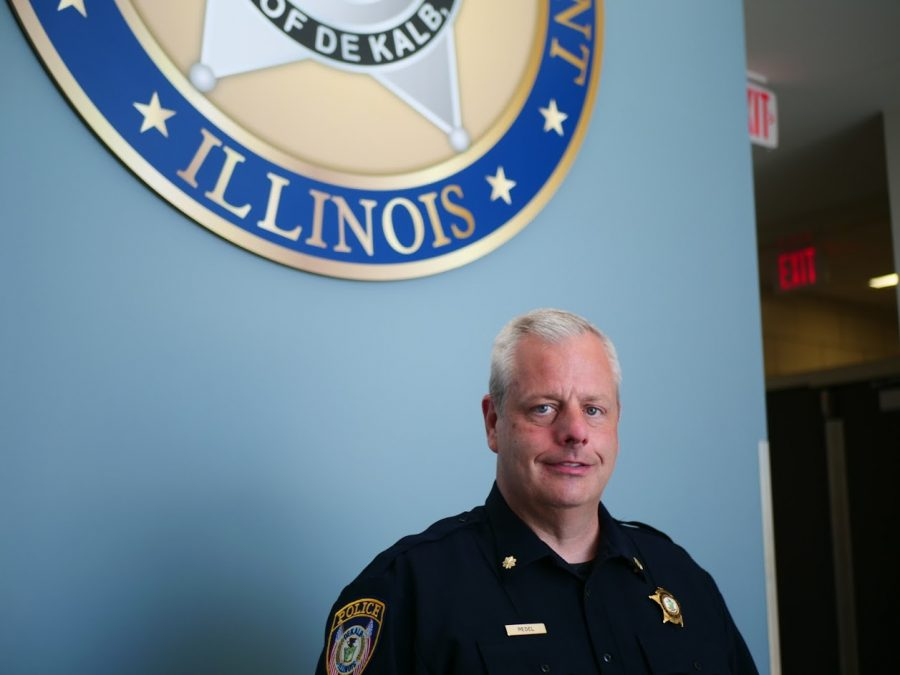 DeKalb Chief of Police Bob Redel stands in the main lobby of the DeKalb police station on Monday, June 15th.