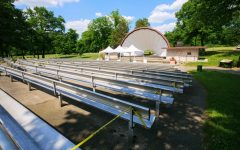 DeKalb's Hopkins Park bandshell sits empty after being vandalized in light of Dekalb's Town Hall meeting at the park.