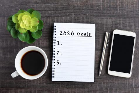 A desk with a 2020 Goals checklist