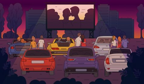 Viewing movies at a drive-in theatre