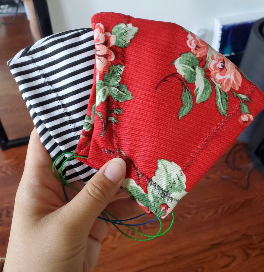 A few masks Allison Simon has crafted. Courtesy of Allison Simon