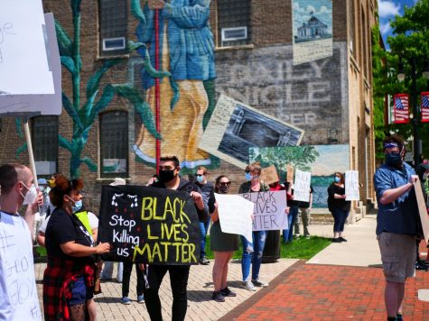 Protesters line the sidewalks along Lincoln Highway in a peaceful protest for Black Lives Matter on Saturday, May 30th.