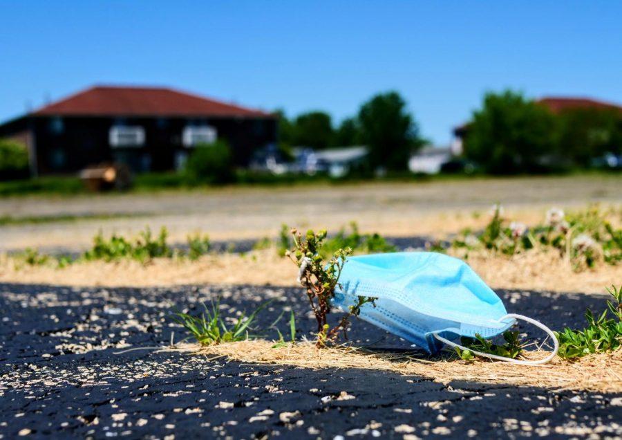 Discarded face mask lays in an empty lot along Blackhawk Road in DeKalb on Thursday, June 11th.
