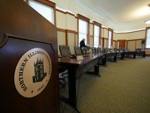 Board of Trustees member prepares for a meeting in Altgeld Hall on Feb. 13th, 2020.