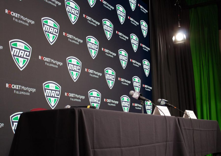 A press conference table sits empty March 12, prior to the announcement of the cancellation of the 2020 MAC Basketball Championships at Rocket Mortgage FieldHouse in Cleveland, Ohio.