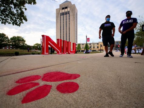 Sigma Lambda Beta members walk by the Huskie Pride sculpture Sunday during NIU
