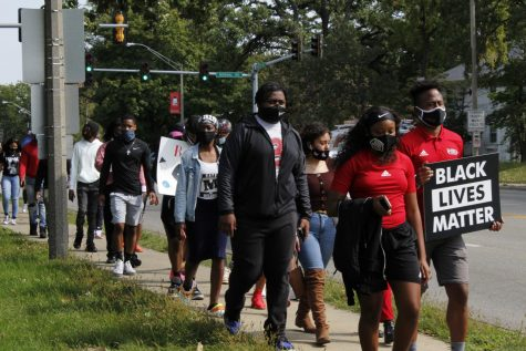 Protesters march to Center for Black Studies