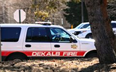 DeKalb Fire Department vehicle drives down Lucinda Ave. on Friday, March 6th.