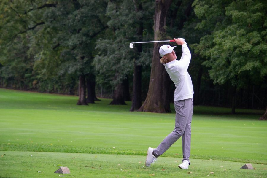 Tyler McDowell takes a tee shot at the second hole Sept. 11,Heide Wealth Management Series at Kishwaukee Country Club in DeKalb.